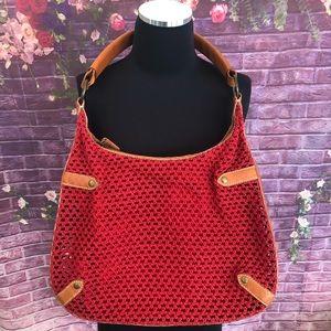 Ralph Lauren Crochet Suede Lined Leather Hobo Bag